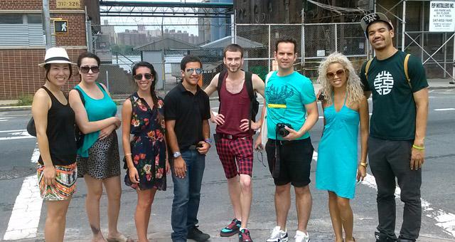 Walking tour group in Brooklyn