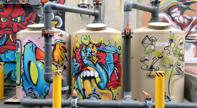 street art on metal tanks