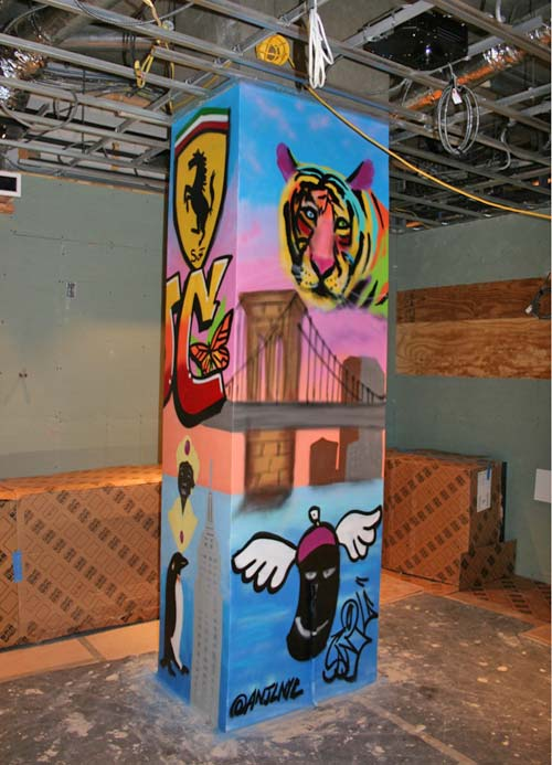 pillar covered in painted art