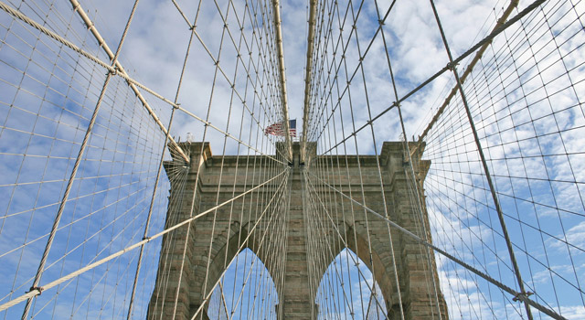 view looking up at Brooklyn Bridge tower