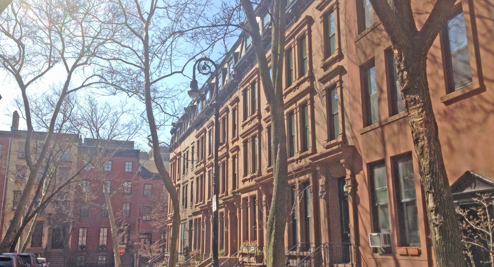 Row of brownstone houses