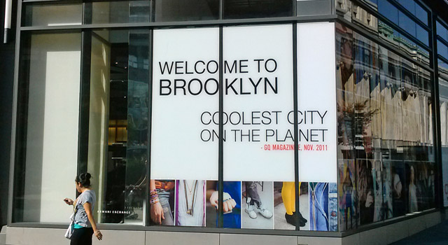 sign saying Brooklyn is coolest city on the planet