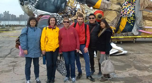 walking tour group posing