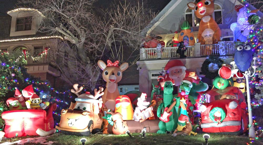 Christmas display of cartoon characters
