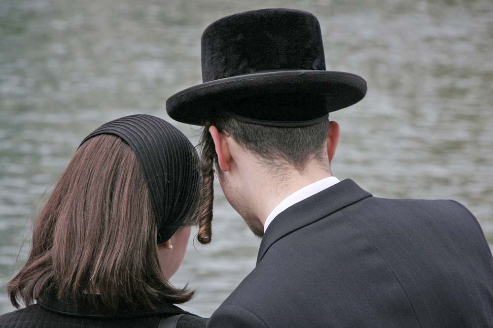 Hasidic man and woman shown from rear