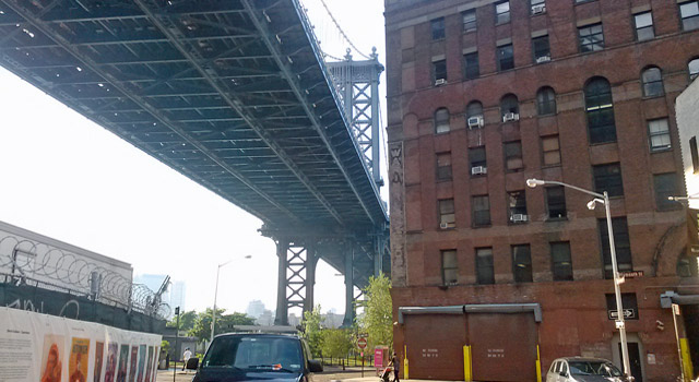 Underneath the manhattan bridge in dumbo