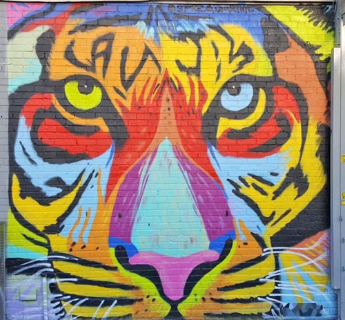 mural of colorful tiger