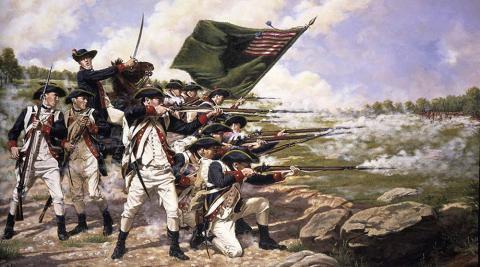Revolutionary war soldiers shooting